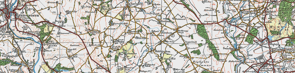 Old map of White Cross in 1921
