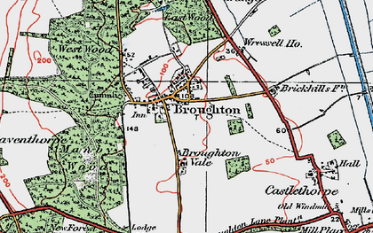 Old map of Broughton in 1923