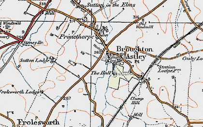 Old map of Broughton Astley in 1920