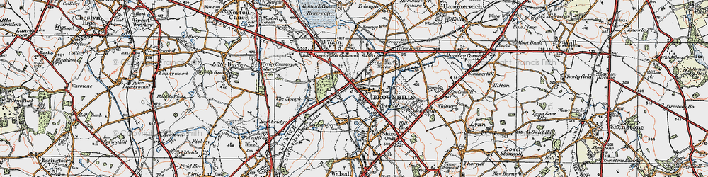 Old map of Brownhills in 1921