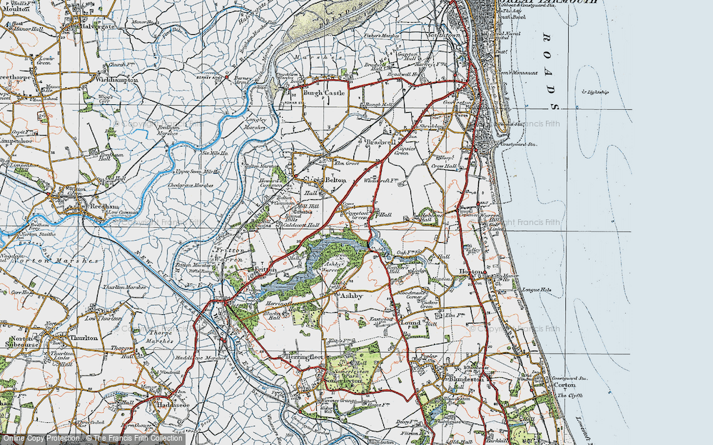 Old Map of Historic Map covering Ashby Warren in 1922