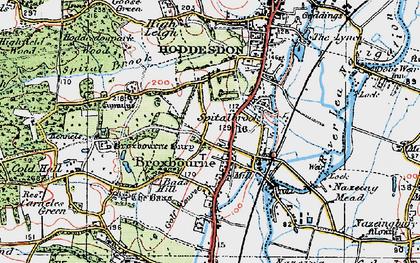 Old map of Broxbourne in 1919
