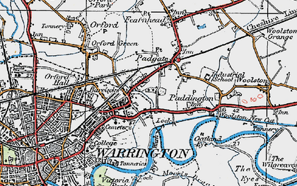 Old map of Bruche in 1923