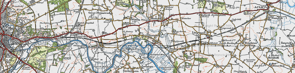 Old map of Brundall in 1922