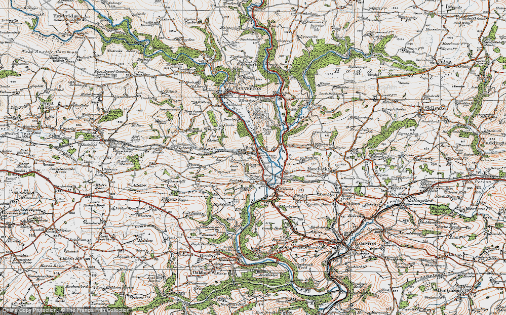 Old Map of Historic Map covering Allers Wood in 1919