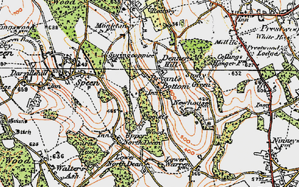Old map of Bryant's Bottom in 1919