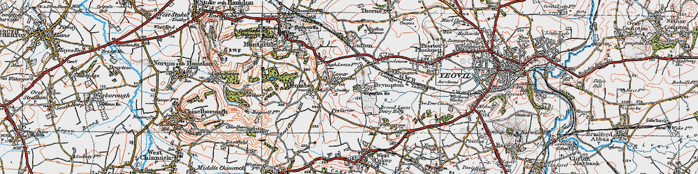 Old map of Brympton D'Evercy in 1919