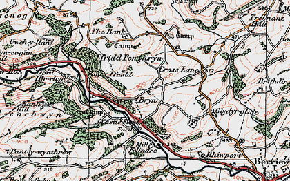 Old map of Bryn in 1921