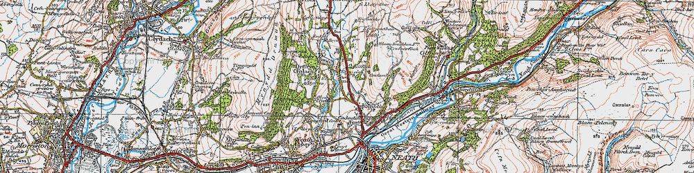 Old map of Bryncoch in 1923