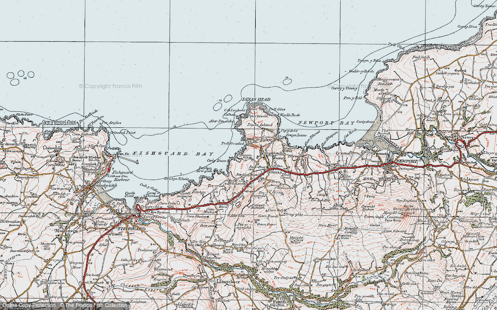 Old Map of Historic Map covering Aber Pensidam in 1923