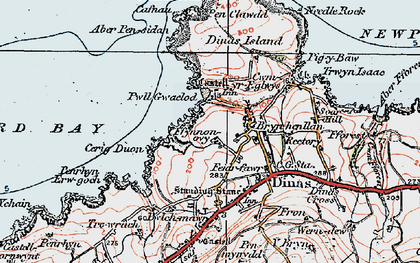 Old map of Aber Pensidan in 1923