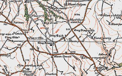 Old map of Afon Fawr in 1923