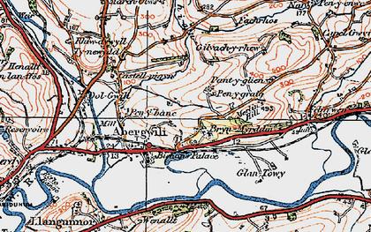 Old map of Bryn Myrddin in 1923