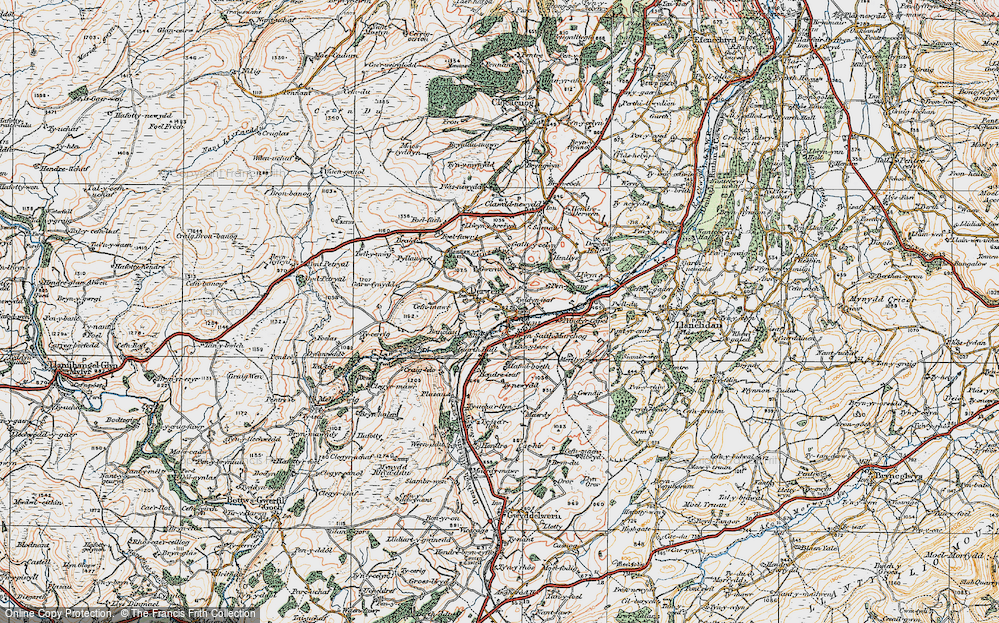 Old Map of Historic Map covering Allt-y-Celyn in 1922