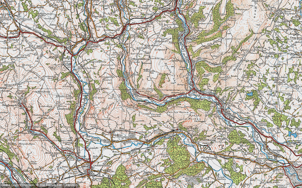 Old Map of Historic Map covering Ton-eithin in 1919