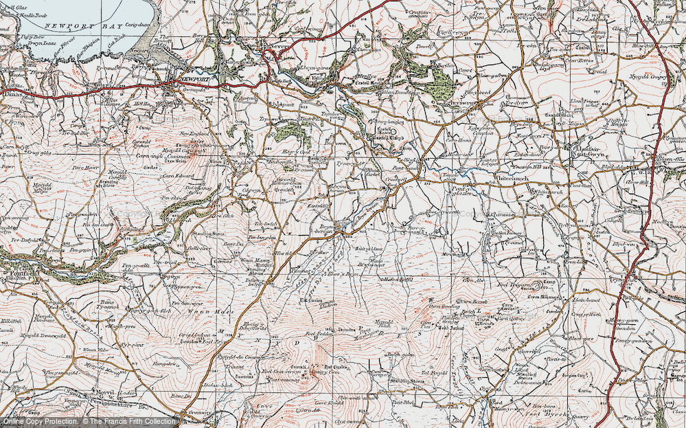 Old Map of Historic Map covering Afon Bryn berian in 1923
