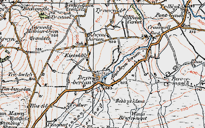 Old map of Afon Bryn berian in 1923