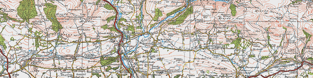Old map of Bryncethin in 1922