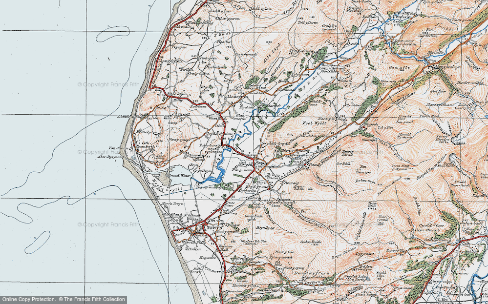 Old Map of Historic Map covering Afon Dysynni in 1922