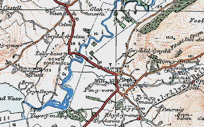 Old map of Afon Dysynni in 1922