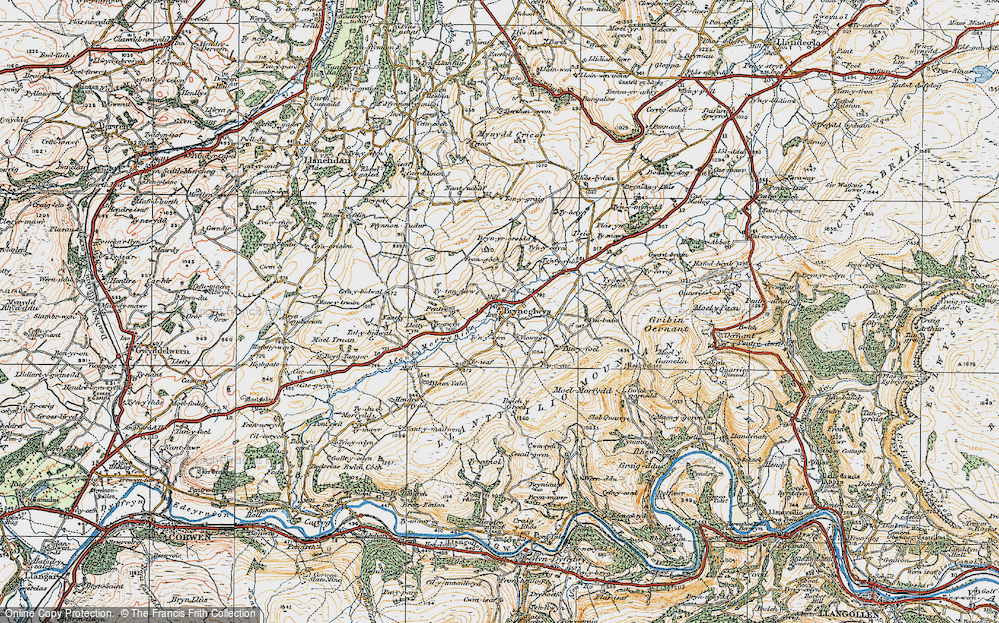 Old Map of Historic Map covering Afon Morwynion in 1921