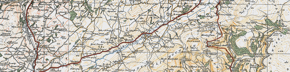 Old map of Afon Morwynion in 1921