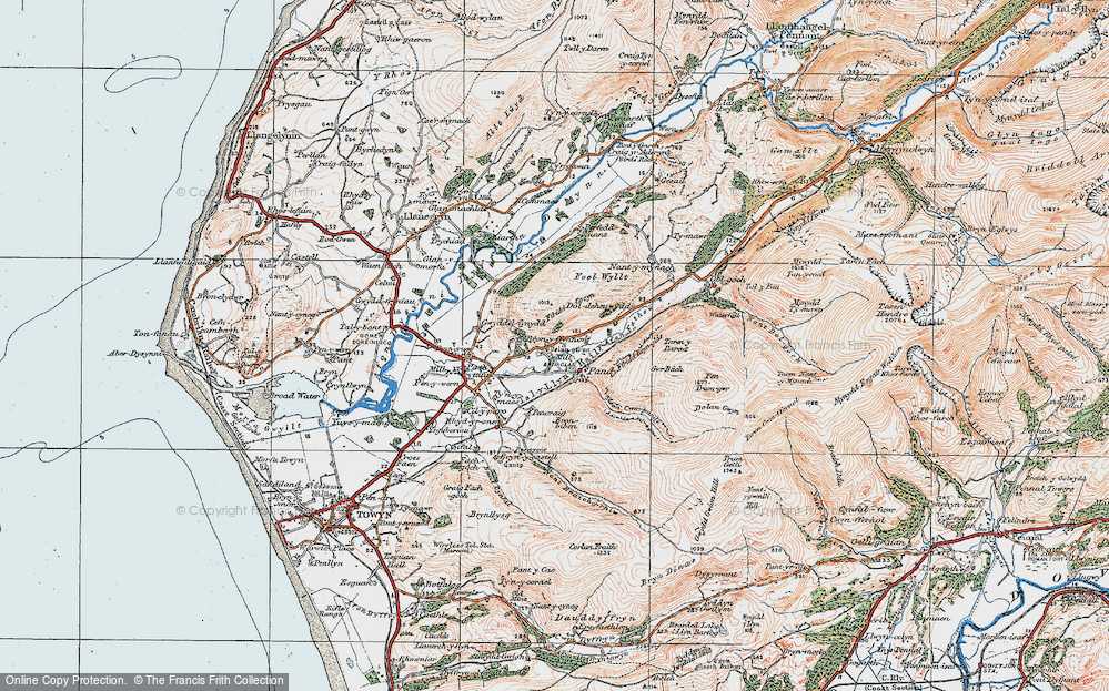 Old Map of Historic Map covering Woodlands in 1922