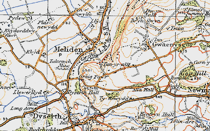 Old map of Bryniau in 1922