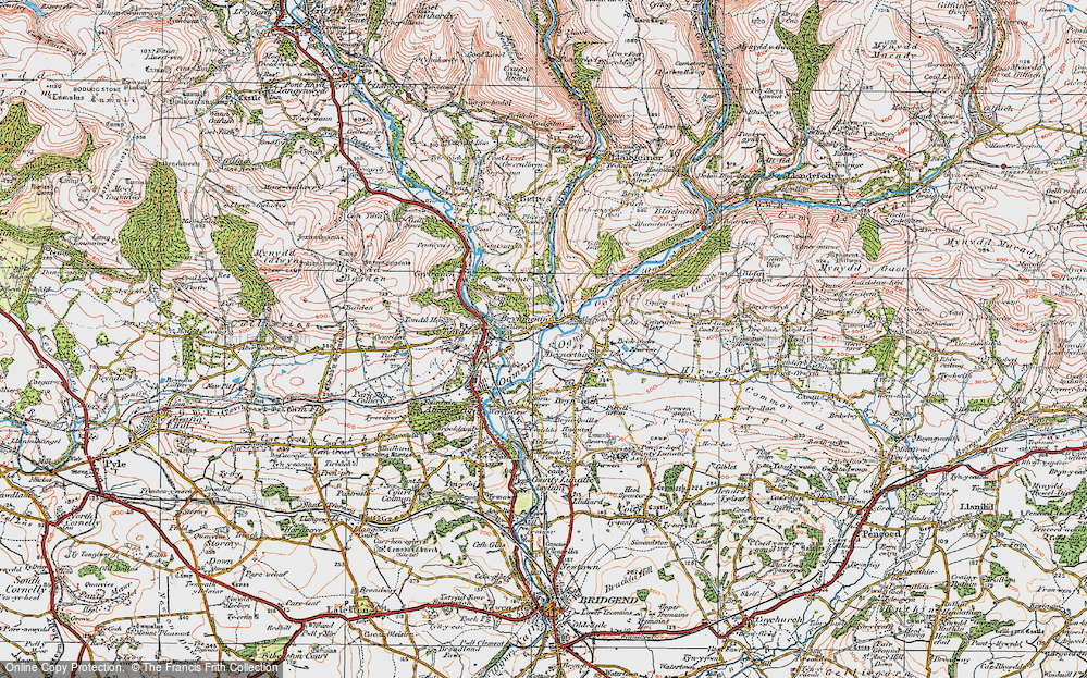 Old Map of Brynmenyn, 1922 in 1922