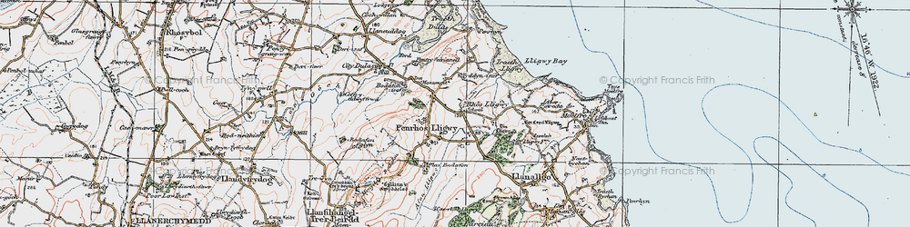 Old map of Brynrefail in 1922