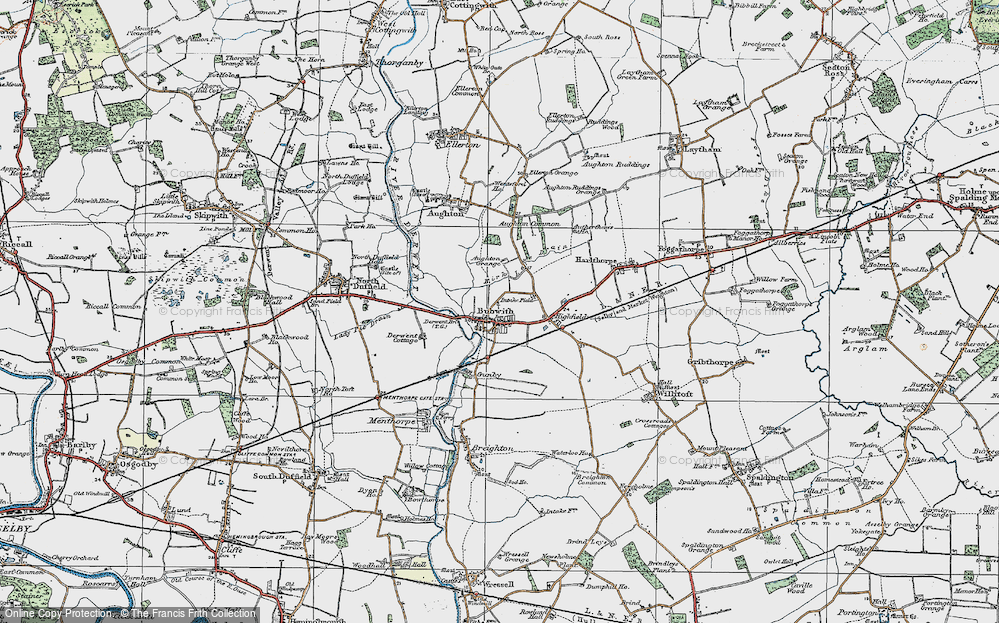 Old Map of Historic Map covering Aughton Grange in 1924
