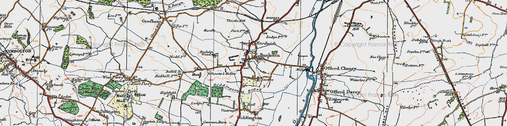 Old map of Buckden in 1919