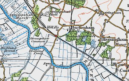 Old map of Buckenham in 1922