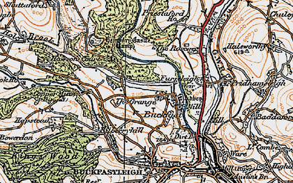 Old map of Baddaford in 1919