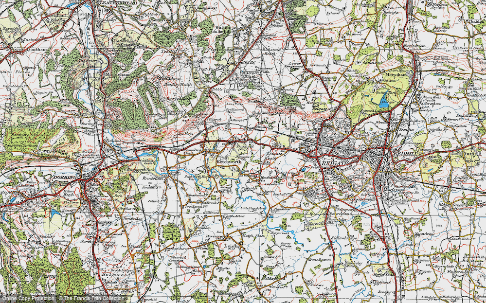 Old Map of Historic Map covering Wonham Manor in 1920