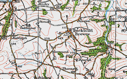 Old map of River Duntz in 1919