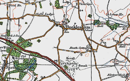 Old map of Bucklesham in 1921