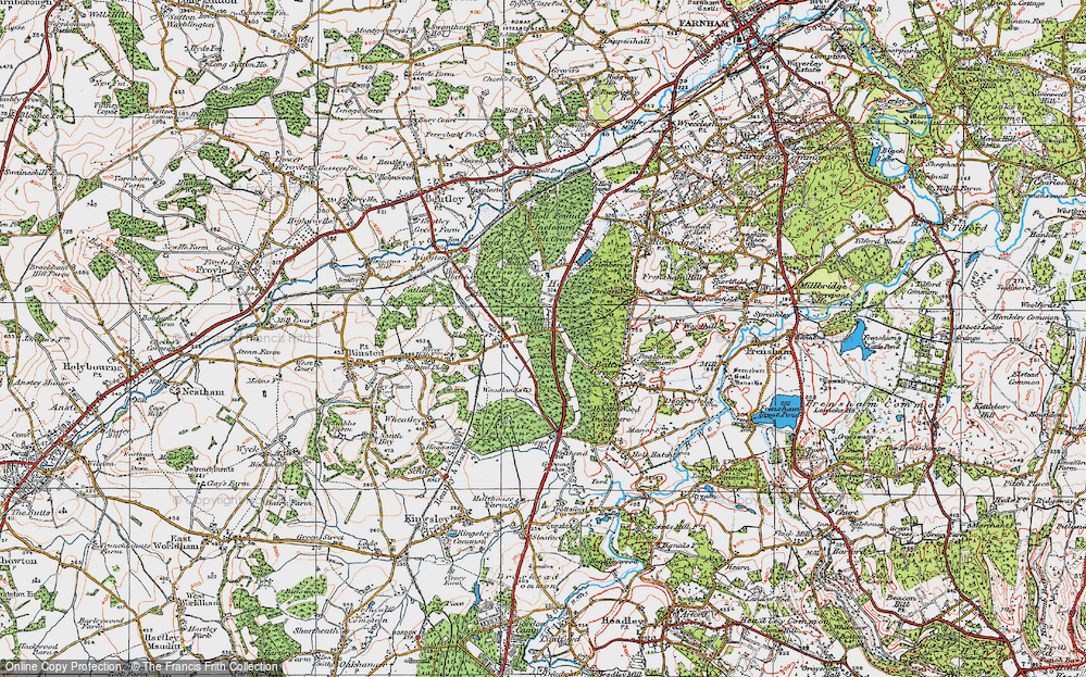 Old Map of Historic Map covering Alice Holt Forest in 1919