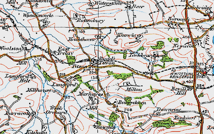 Old map of Langford Barton in 1919