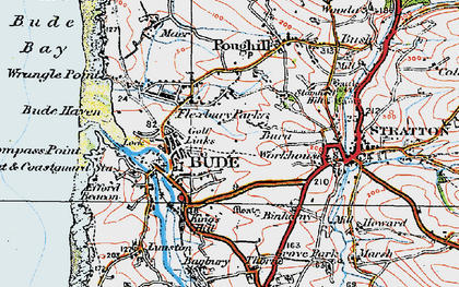 Old map of Bude in 1919