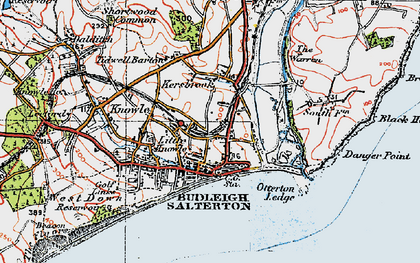 Old map of Budleigh Salterton in 1919