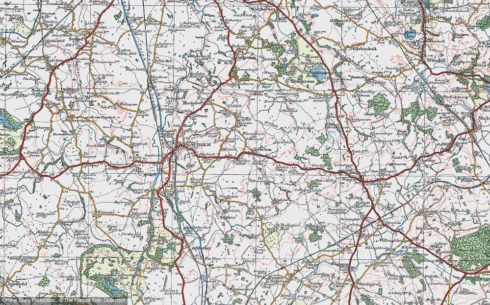 Old Map of Historic Map covering Woodend in 1921