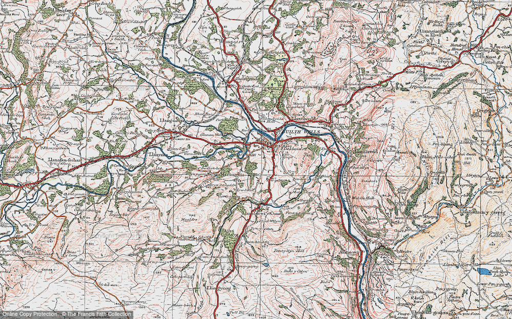 Old Map of Historic Map covering Abercynithon in 1923