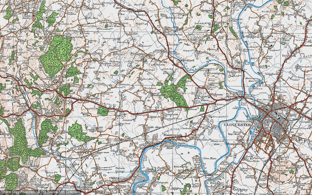 Old Map of Historic Map covering Woodgreen in 1919
