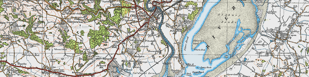 Old map of River Wye in 1919