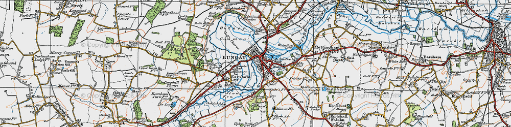 Old map of Bungay in 1921