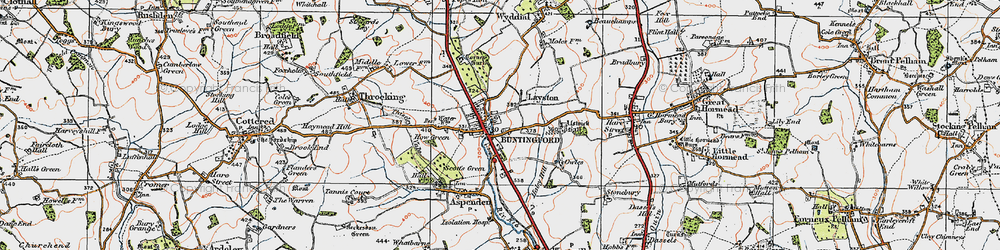 Old map of Buntingford in 1919