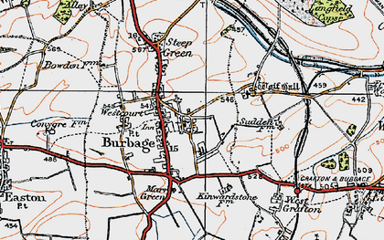 Old map of Burbage in 1919