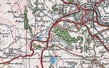Old map of Burbage in 1923