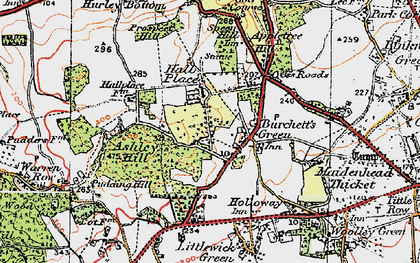 Old map of Burchett's Green in 1919